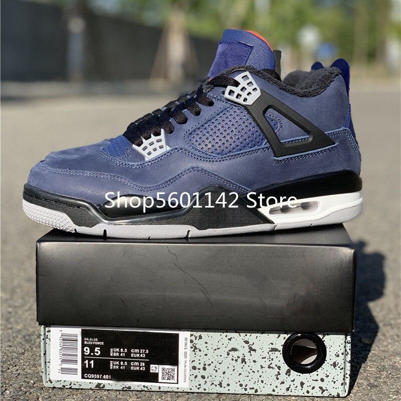 2019 WNTR Loyal Blue Basketball Shoes 4s Suede Flight Brand Designer Original Mens Retro 4 Sport Sneakers