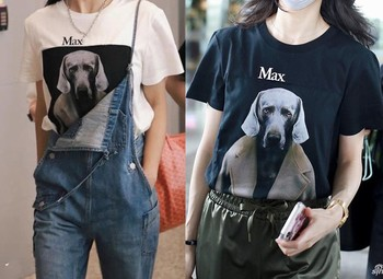 Simple dog head detective t-shirt women's fashion trendy Hong Kong style pure cotton short sleeves 1