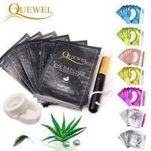 Quewel Extension de cils pratique patchs pour les yeux ensemble Patch de Gel pour les yeux jetable Extension de cils ruban pour les yeux brosse de nettoyage outil de maquillage