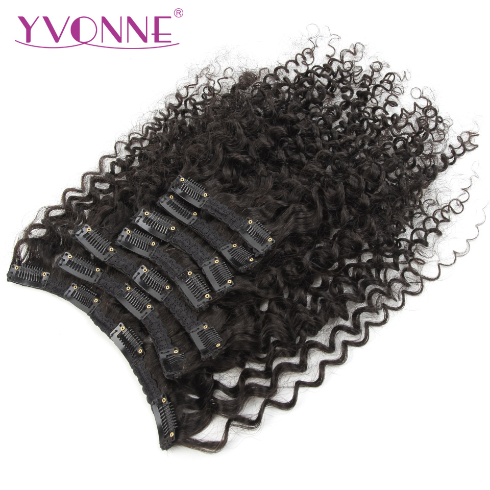 YVONNE Malaysian Curly 3C 4A Clip In Human Hair Extensions Virgin Hair Natural Color 7 Pieces 120g/set