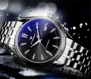 Image 5 - Мужские наручные часы FNGEEN, синие механические часы с заклепками и календарем, водонепроницаемые, со стальным ремешком