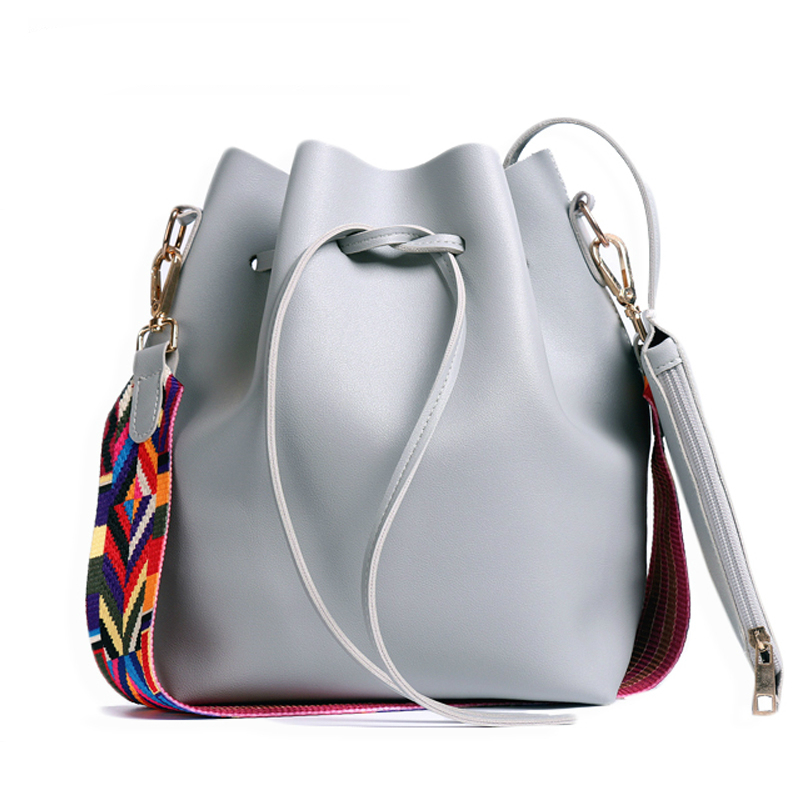 2019 New Women Bag With Colorful Strap Bucket Bag Women PU Leather Shoulder Bags Brand Designer Ladies Crossbody Messenger Bags