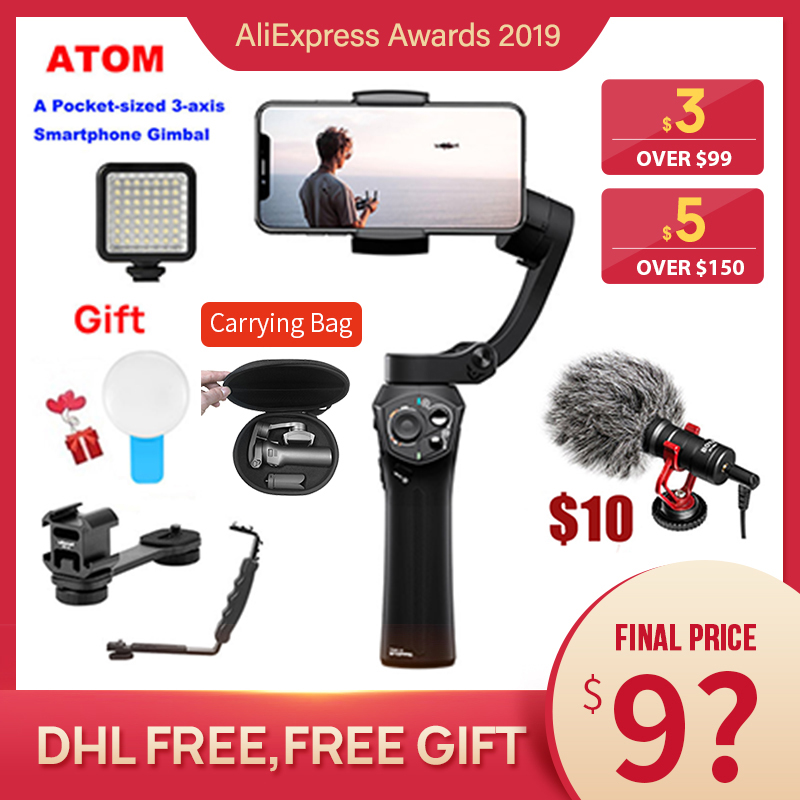 Snoppa atom 3-Axis Handheld Gimbal Foldable Pocket-Sized Stabilizer for iPhone X huawei p30 Gopro hero 7 PK smooth 4