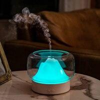 Ev Aletleri'ten Nemlendiriciler'de BPA ücretsiz Aroma YAYICI 400ML dağ görünüm uçucu yağ aromaterapi difüzör sıcak ve renkli LED lamba Humidificador