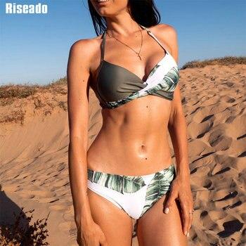 Riseado  Push Up Bikinis Set Swimwear Women Swimsuits Bathing Suit Women Halter biquini Leaf Print Beach Wear Bikini 2021