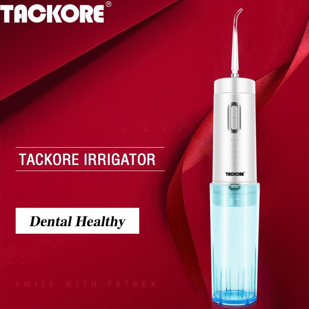 Tackore USB Recharge Oral Irrigator Dental Portable Water Flosser Foldable Water Jet Flosser IPX7 Irrigator 210 Ml Tank