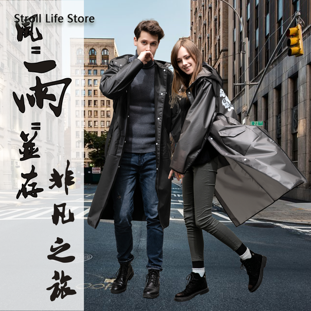 Adult Hiking EVA Raincoat Long Rain Jacket Coat Women Thickened Black Rain Poncho Waterproof Suit Rain Cover Capa De Chuva Gift 1