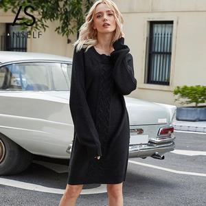 Winter Women Vintage Knitted Sweater Dress Elegant O-Neck Long Sleeve Casual Dress Black Party Dresses