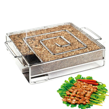 BBQ Cold Smoke Generator For Wood dust and Hot Meat Durn Cooking Stainless Steel BBQ Accessories Tools Bacon Cold Smokin