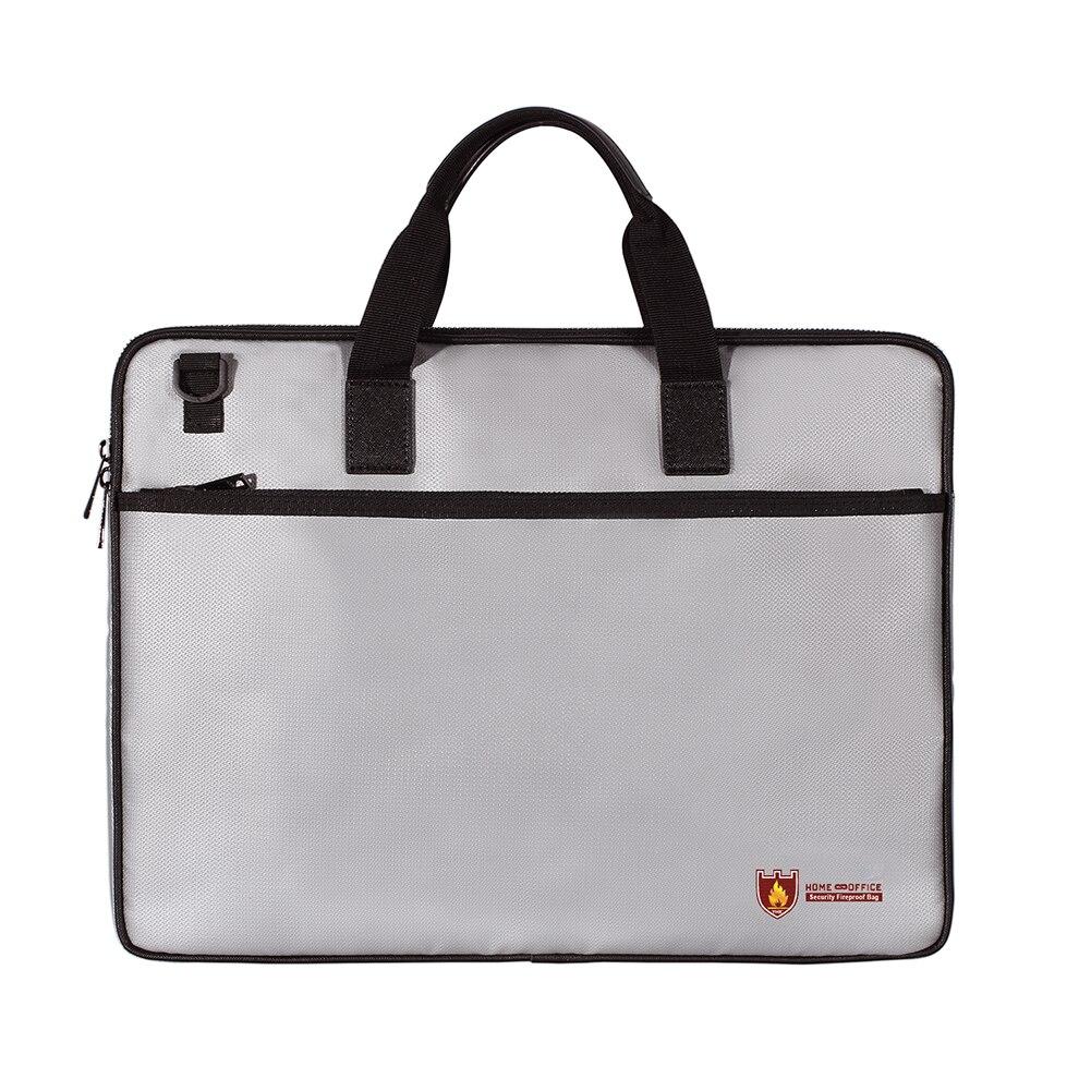 Fireproof Waterproof Document Bag Organizer Document Bag Resistant Pouch With Shoulder Strap Zipper Closure Safe Storage