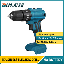 BLMIATKO 18V 3 in 1 Brushless Impact Electric Drill 13mm 90N.m 2 Speed Rechargable Screwdriver