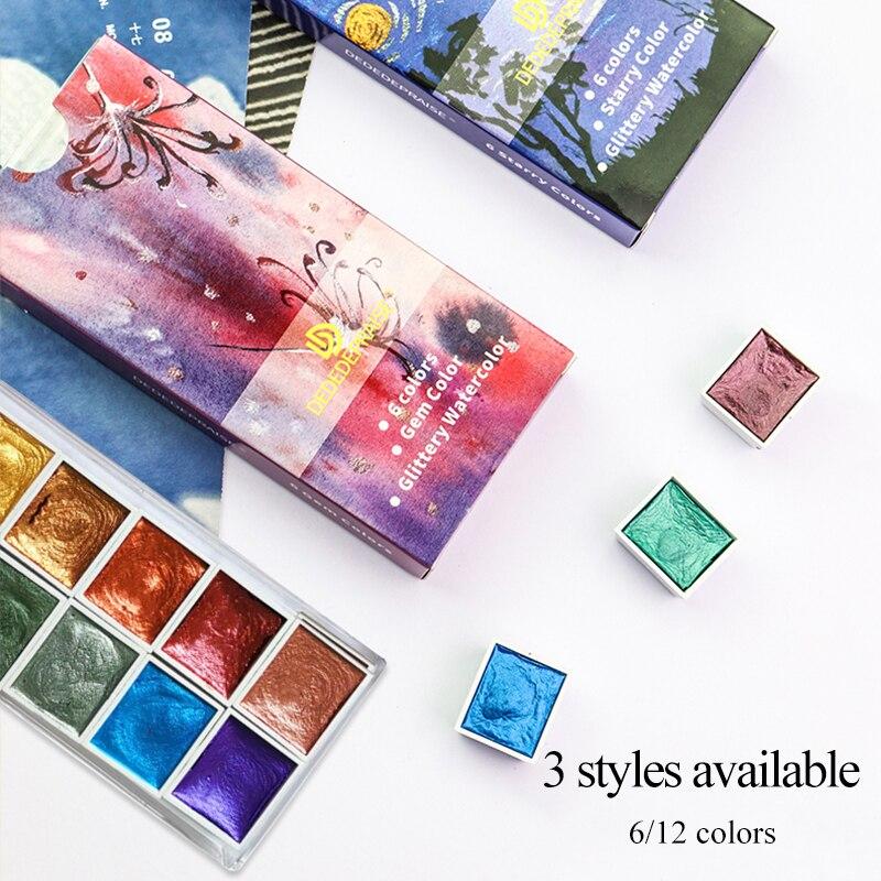 6/12 cores peroladas pigmento arte metálico brilho acuarela escola artigos de papelaria perolescente/gema/aguarela sólida estrelada