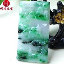 Hezhou jewelry!Myanmar natural jade!Exquisite hand carving!Landscape pendant!Exquisite workmanship!55.87g hezhou jewelry myanmar natural jade exquisite hand carving guan gong pendant exquisite workmanship 59 86g