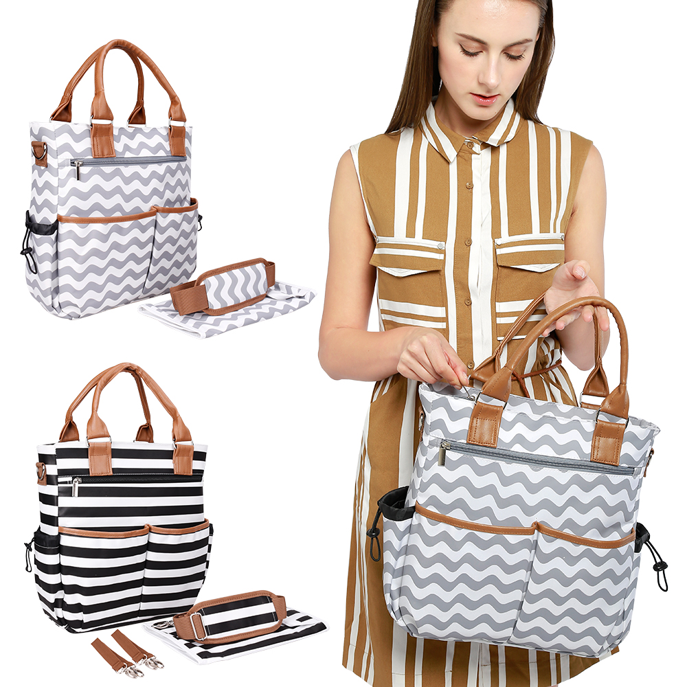 4 Set Mummy Nappy Bags Large Capacity Baby Bag Stripe Baby Care With Stroller Straps Design Nursing Diaper Bag