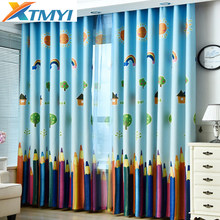 Blue Color modern Cartoon rainbow Blackout Curtains for Bedroom curtains for kids Window curtains for living room(China)