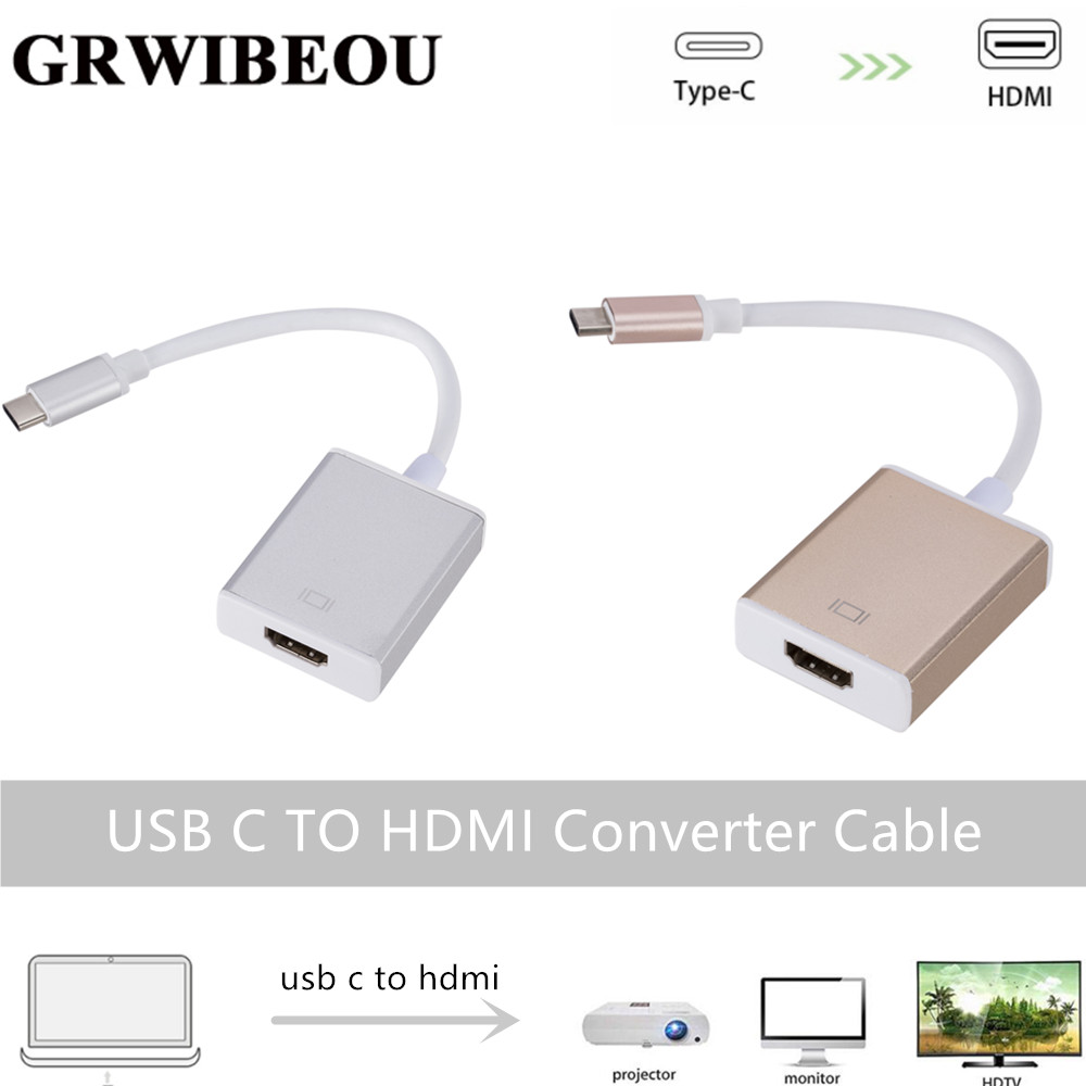 Grwibeou USB C TO HDMI Adapter Cable Usb 3.1 Thunderbolt 3 To HDMI Iphone Usb-c To HDMI Switch Cable Converter For Type C Device