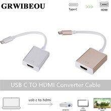 Grwibeou cabo adaptador usb c para hdmi, usb 3.1 thunderbolt 3 para hdmi iphone usb c para hdmi switch conversor de cabo para o dispositivo tipo c