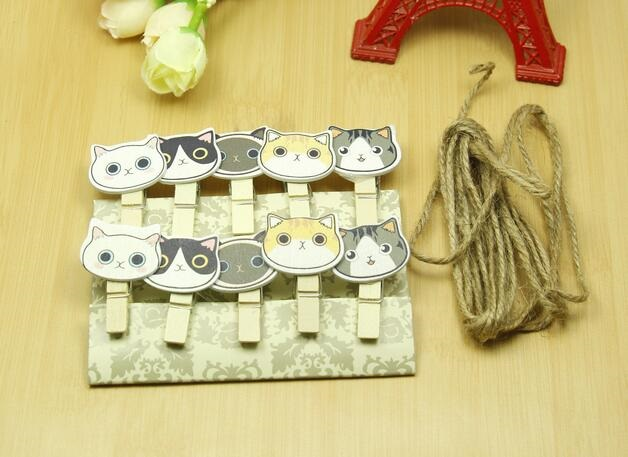 10pcs/pack Lovely Cat Head Wooden Clip Photo Paper Clothespin Clips With Hemp Rope School Office Supply