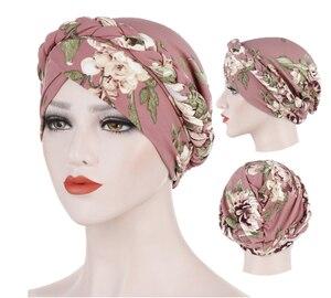 Модный хлопковый мусульманский тюрбан с принтом, шарф для женщин, мусульманский Внутренний шапочки под хиджаб, арабский шарф на голову, шар...