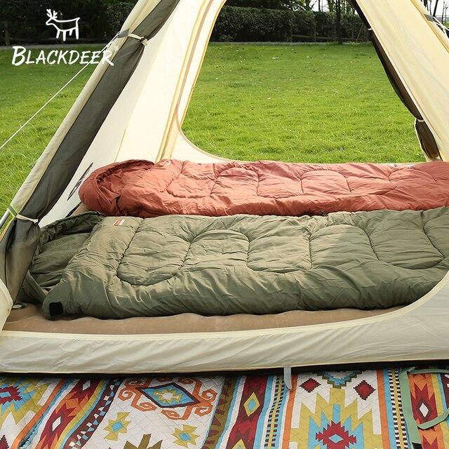 Blackdeer Camping Cotton Splice Sleeping Bag  Season Warm Pillow Hooded Envelope Sleeping Bag for Outdoor Traveling Hiking 5