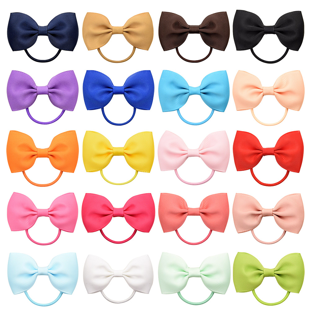 Bow-Tie Headwear Hair-Accessories Rubber-Band Elastic Ribbow Small Girls Mini Baby Solid