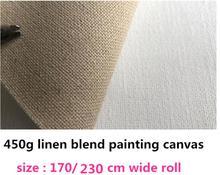 1.7 m/2.3 m tamanho liso textura em branco linho mistura lona rolo 450g