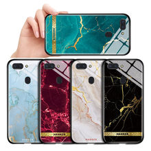 For OPPO Realme 1 2 3 5 6 Pro 5S 5I 6I Glossy Tempered Glass Back Cover Realme X XT C2 C3 C3i X2 Pro Luxury Marble Pattern Case(China)