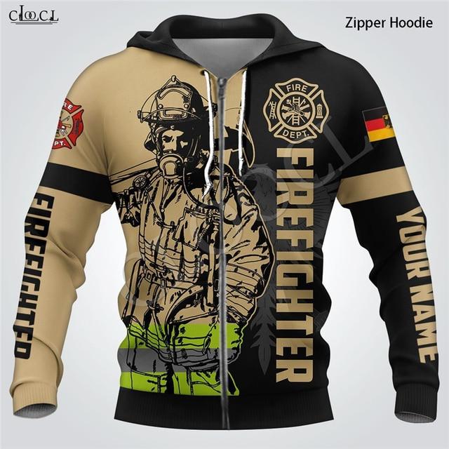 Firefighter Print Hoodie 3D Hooded Sweatshirt 3