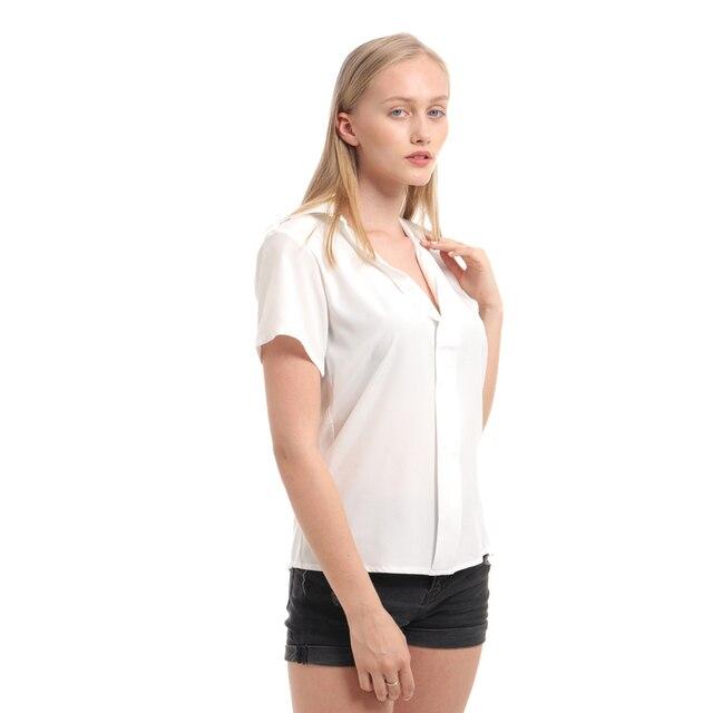 Camisa de talla grande 2019 para mujer, cuello en V profundo, sólido corto de manga, camisas casuales de moda para mujer, Tops de verano, Blusas formales de oficina 4
