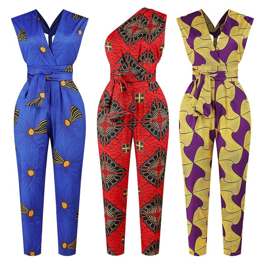 Fashion Ladies 2020New Year African Clothes Ankara Style DIY Bandage Robe Africaine Dashiki Jumpsuit Ethnic Sexy Dress For Women