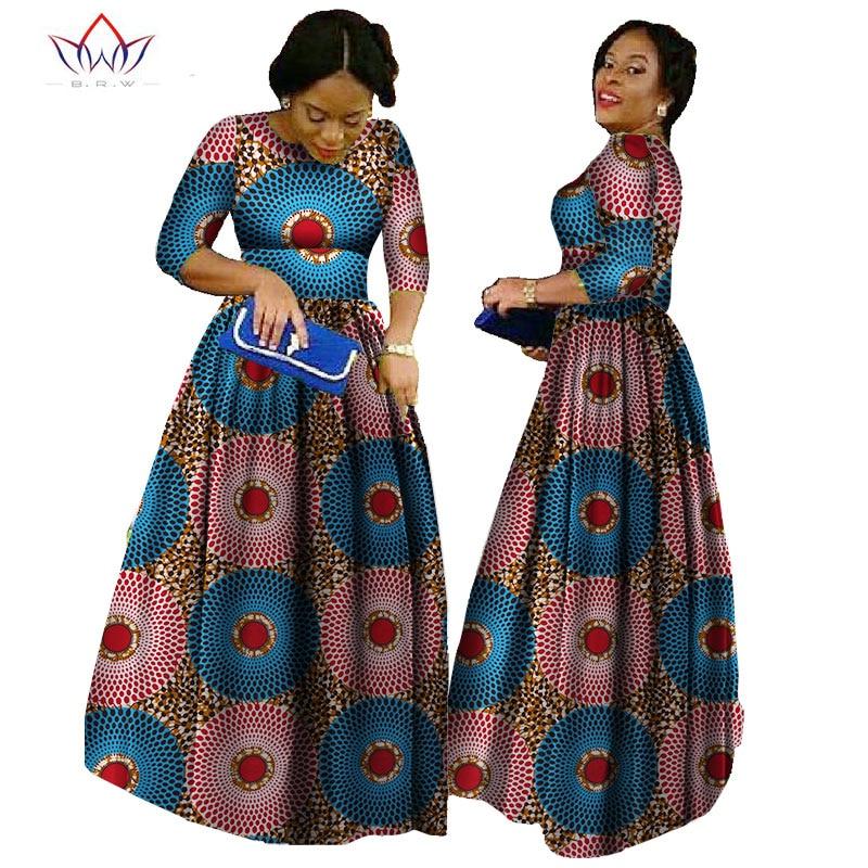 Африканские платья Bazin для женщин 2020, африканские платья с длинными рукавами для женщин в африканском стиле, одежда из ткани Wax Dashiki 6xl BRW WY516|Африканская одежда|   | АлиЭкспресс
