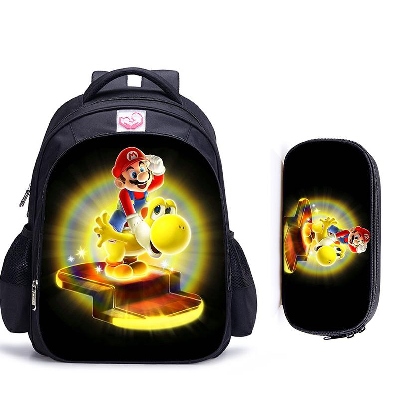 16 Inch Mario Bros Children School Bags Orthopedic Backpack Kids School Boys Girls Teenage Mochila Infantil Catoon Bags Gift