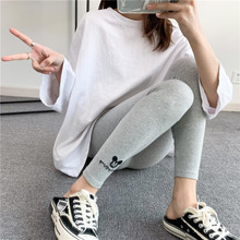 Pants Mickey Leggings Women's Stretch Cotton Cartoon Letter Feet Embroidered Slim Nine-Point