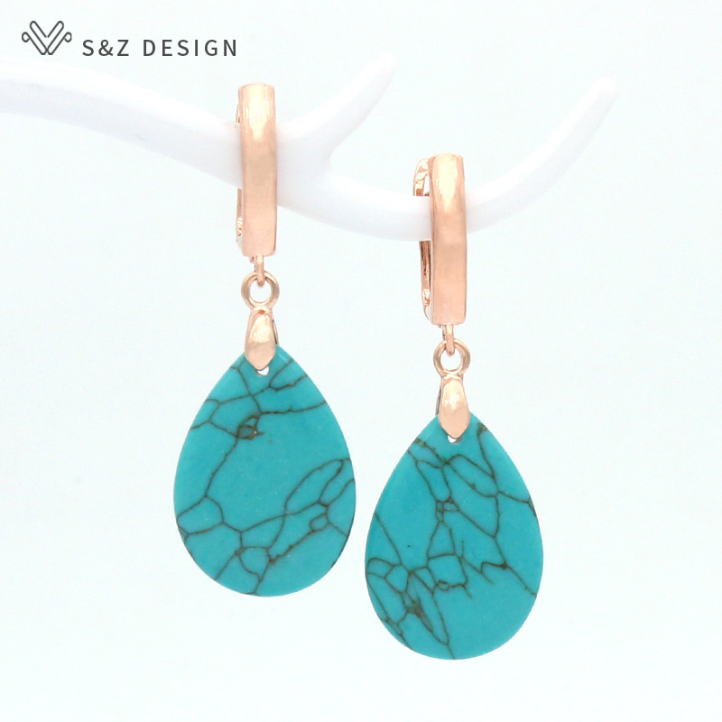 S&Z DESIGN Korean Vintage Water Drop Synthetic Turquoises Dangle Earrings 585 Rose Gold White Gold For Women Wedding Jewelry