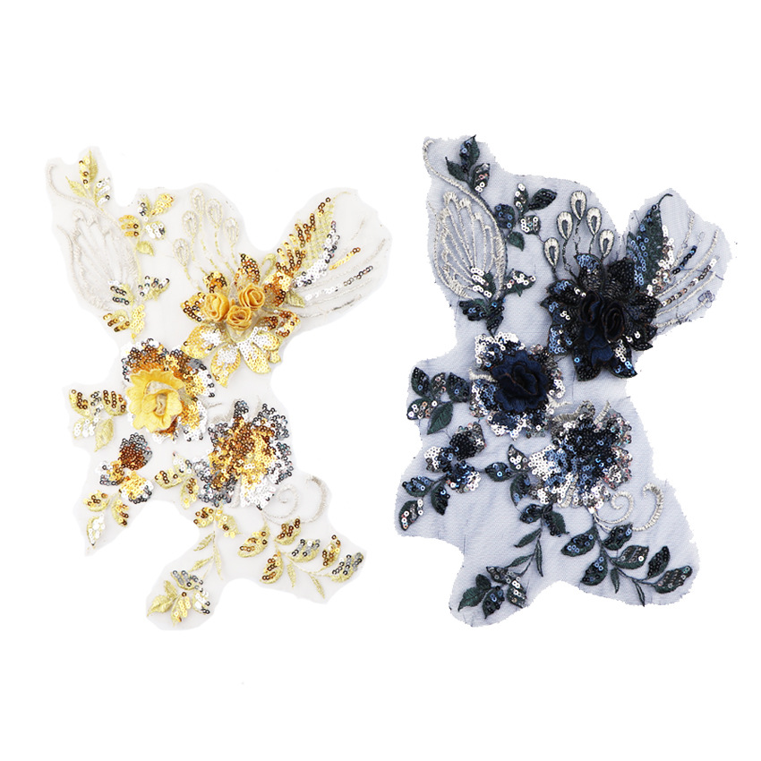 1Pcs High Quality Handmade Flower Wedding Dress Applique DIY Bridal Headpiece Ivory White Lace Patch