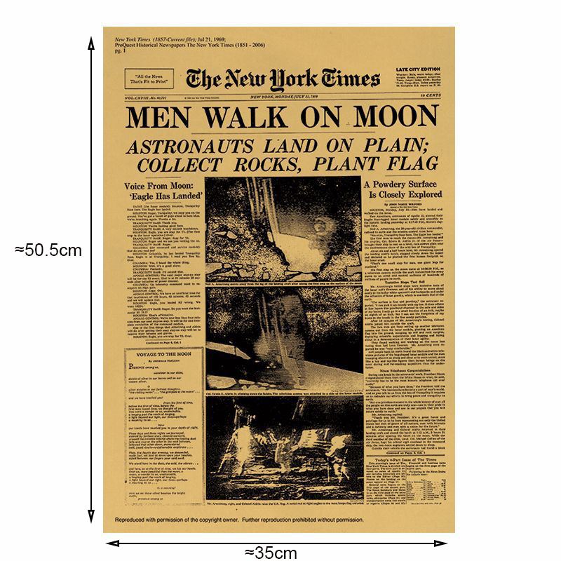 Купить с кэшбэком The Moon landing poster Vintage Kraft Paper Classic Poster Home Wall Decoration Art Magazines Retro Posters and Prints