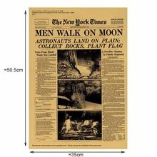 Cartel de aterrizaje de la luna Vintage de papel Kraft póster clásico decoración de la pared del hogar revistas de arte Retro carteles e impresiones