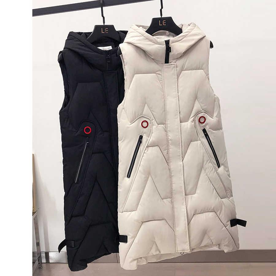 Na co dzień długi Plus Size z kapturem kamizelka kobiety zima koreański bez rękawów bawełna płaszcz panie wiatroszczelna ciepłe kamizelka zagęścić odzież wierzchnia