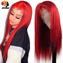 REMYBLUE orta kısmı 13*1 99J kırmızı dantel ön İnsan saç peruk perulu İnsan saç peruk 180 remy düz dantel ön peruk
