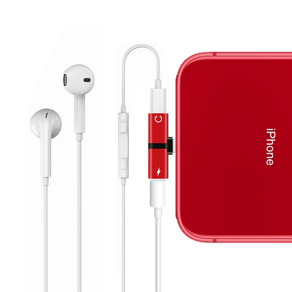 For Apple IPhone X 7 8 Plus XS Max XR Audio Charging Dual Adapter Splitter Jack Headphone Earphone AUX Connector Converter