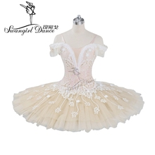 adult beige cream professional ballet tutu girls peformance puffy flower fairy doll classical stage costumeBT9072