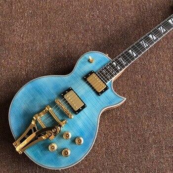Custom Classic Blue Tiger Flame jazz electric guitar,Golden hardware guitarra,custom 6 stings jazz gitaar ,vibrato system new style china custom f hollow body jazz electric guitar sunburst color jazz guitarra vibrato system