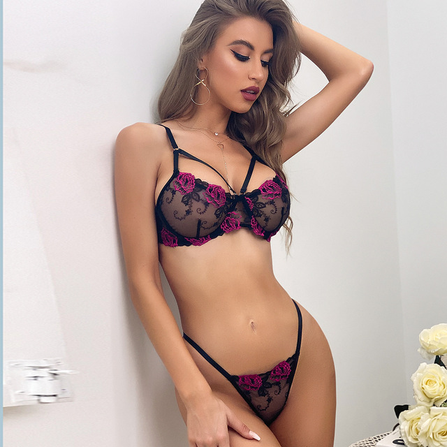 Sexy Black Mesh Flower Embroidered See-through Lingerie Set 3