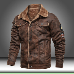 Leather Jacket Men Coats PU Outerwear Motorcycle Biker Male Business Winter Faux Fur Jacket Thick Fleece Leather Mens Windproof