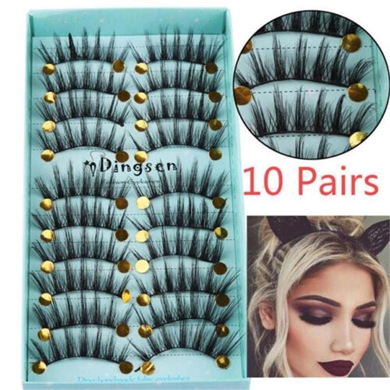 10 Pairs Natural Long False Eyelashes Handmade Makeup Fake Eyelashes Eye Lashes Makeup Extension Tools Thick Lashes Cilios
