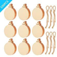 METABLE 100 Pcs Unfinished Wood Ornaments Ornament Slices Round Pieces Embellishments for Christmas Decoration Hanging