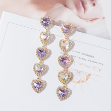 Exaggerated Love heart Long Earrings  Fashion indian jewelry rhinestone crystal korean women earrings bohemian