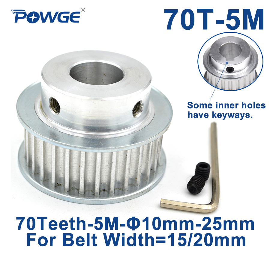 POWGE Arc 70 Teeth HTD5M Synchronous Pulley Bore 12/14/15/16/18/19/20/22/25mm for Width 15/20mm HTD 5M Timing Belt 70Teeth 70T|Pulleys| |  - title=