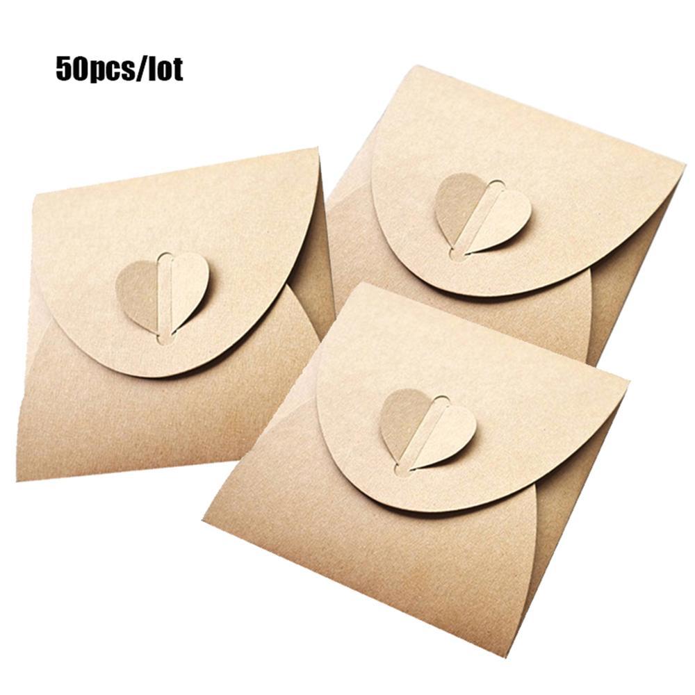 50pcs 13x13cm Heart Kraft CD Paper Case Bag,CD Sleeves Discs DVD Packaging Bag Box Kraft CD Case Cover Envelope For Party L29K