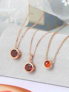LAMOON 925 Серебряное ожерелье для женщин натуральный гранат подвеска на удачу 14K розовое позолоченное изысканное ювелирное изделие простой ст...